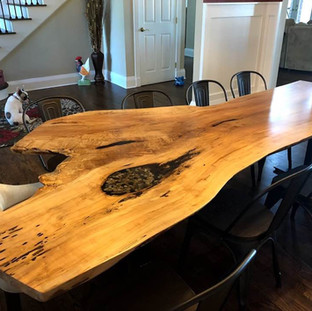 007 - Spalted Maple Live Edge Table - Single Slab With a Custom Rock Inlay - From Our Specialty Collection
