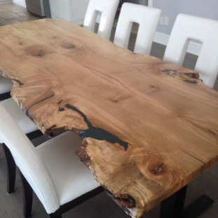 005b - Maple Live Edge Harvest Table with Steel Legs - Natural Finish/Glow Resin