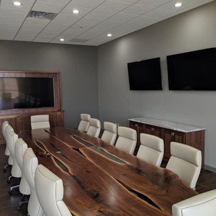 043 - Live Edge Black Walnut Resin Conference Boardroom Table