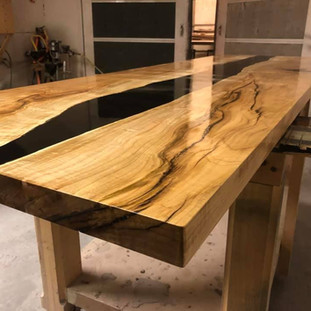 34 - Maple Reversed Live Edge Table - Black River Inaly