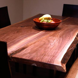 009 -  Black Walnut Live Edge Table With A Maple Live Edge Bench