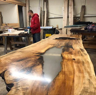 20 - Single Slab Maple Live Edge Table River Inlay