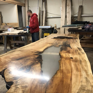10-Spalted Maple Single Slab with Custom Clear Inlay