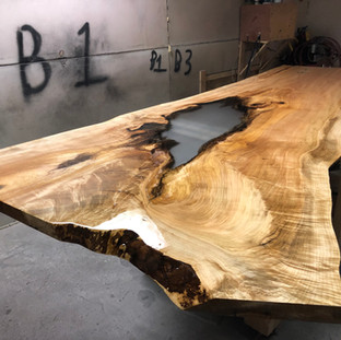 Curly Maple Single Slab Live Edge Table Clear Resin Inlay