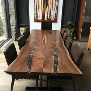 010 - Live Edge Black Walnut Table With Custom Rock Inlay