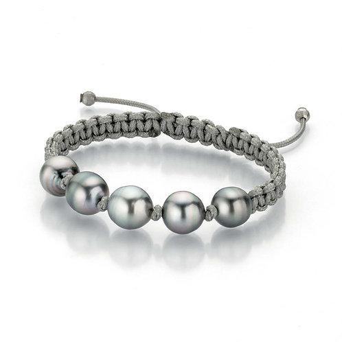 Gellner Pearlmates - 925 Silber weiß und Nylon mit 5 Tahiti-Perlen