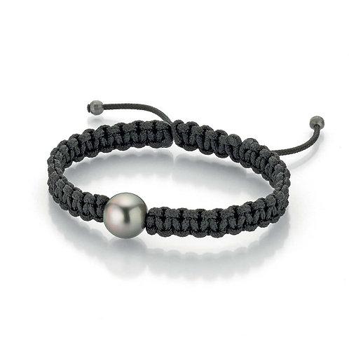 Gellner Pearlmates - 925 Silber schwarz rhodiniert und Nylon mit Tahiti-Perle