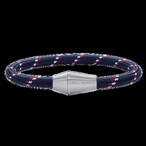 Paul Hewitt Armband - Conic Silber Nylon Marineblau Rot Weiß