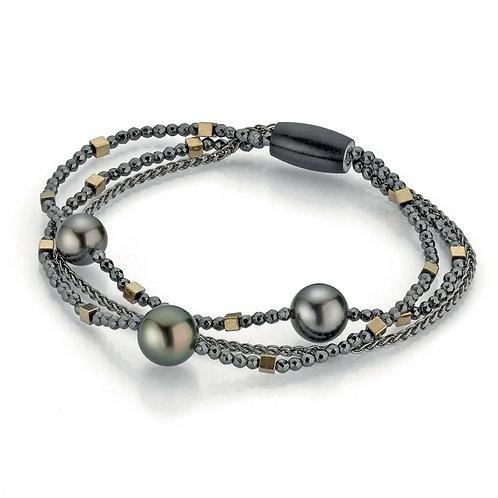 Gellner Armband Big Bang - 925 Silber mit Edelsteinen und Tahiti-Perlen
