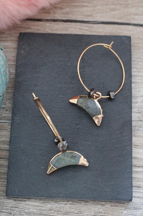 Créoles Labradorite lune acier inoxydable doré fait main perles hématites