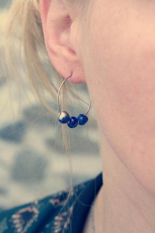 Petites créoles Jali Lapis lazuli acier inoxydable fait main pierres naturelles