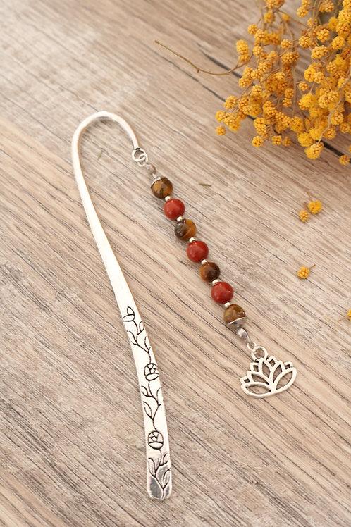 Marque page Oeil de tigre et Jaspe Rouge pierres naturelles fait main lotus