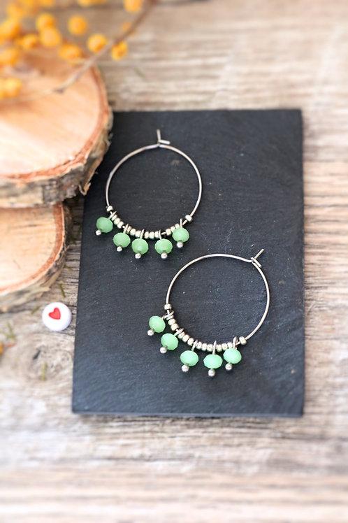 Créoles  boucles Perlita acier inoxydable argenté et perles vert pastel