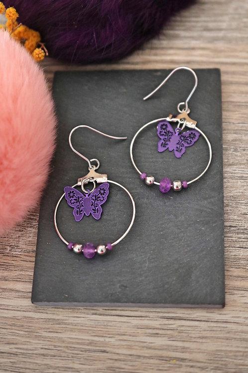 Boucles d'oreilles créoles papillons filigranes violets attaches acier inox