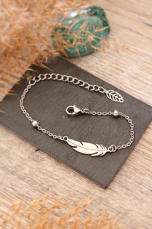 Bracelet plume acier inoxydable chaine billes réglable