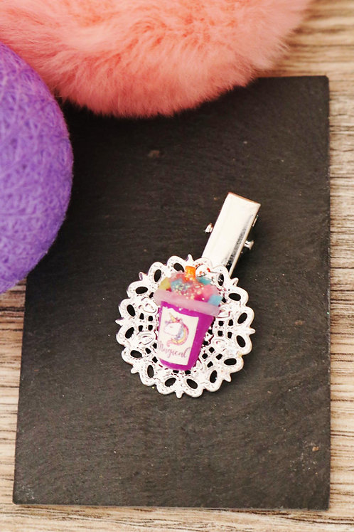Barrette smoothie licorne pailleté violet fimo artisanale pince