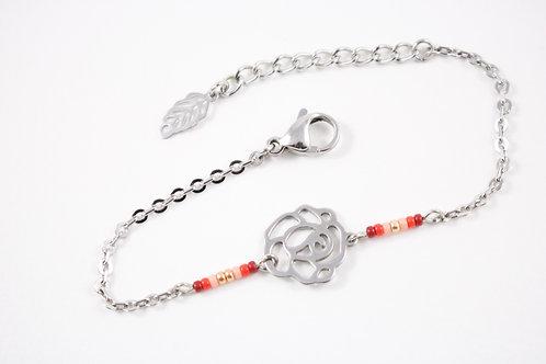 Bracelet acier fleur rouge réglable inoxydable bohème miyuki