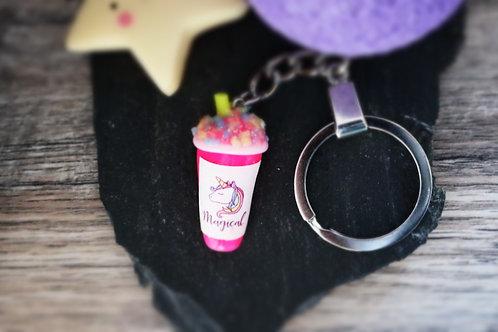 Porte clés Smoothie licorne rose fluo fimo artisanal