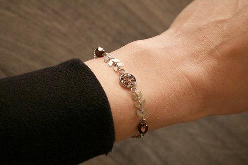 Bracelet Gypsy acier inoxydable marron réglable fait main