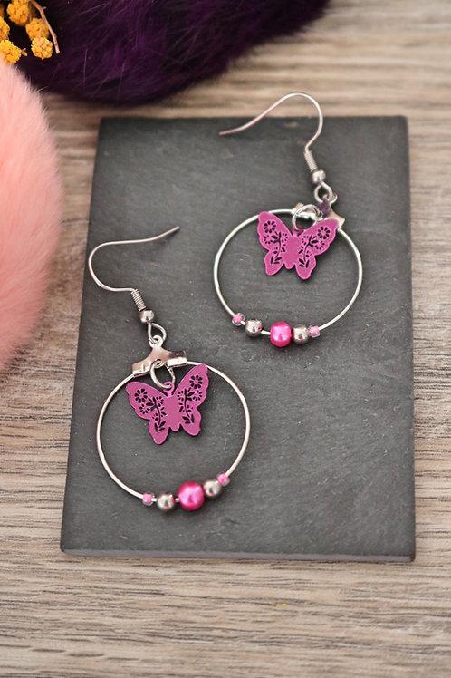 Boucles d'oreilles créoles papillons filigranes roses attaches acier inox