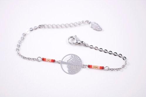 Bracelet acier arbre de vie rouge filigrane réglable inoxydable bohème miyuki