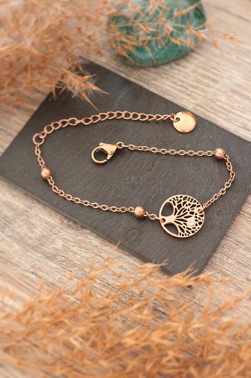 Bracelet arbre médaillon acier inoxydable rosé chaine billes réglable
