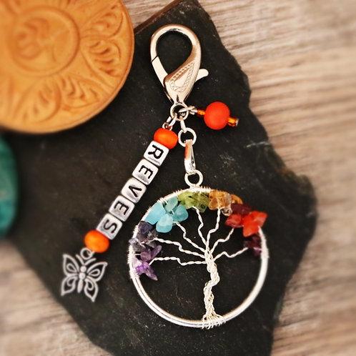 Porte clés arbre chakra pierres naturelles rêves artisanal