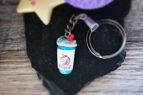 Porte clés Smoothie licorne bleu fimo artisanal