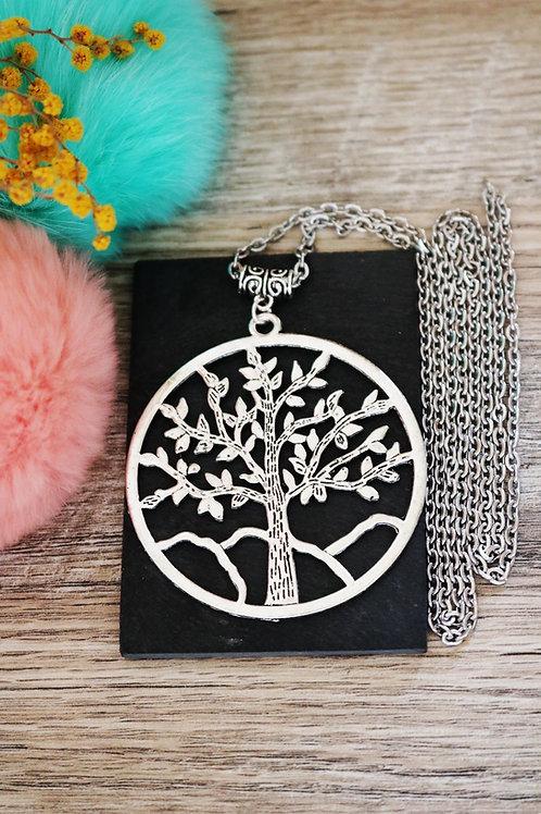 Sautoir/ collier long arbre gros médaillon argenté et sa chaine en acier inox