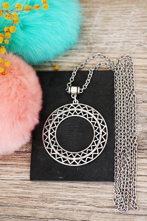 Sautoir collier long cercles rond triangle boho gypsy argenté chaine acier inox