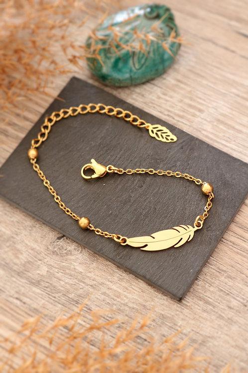Bracelet plume acier inoxydable doré chaine billes réglable