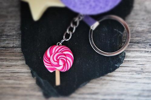 Porte clés sucette lollipop rose fimo artisanal