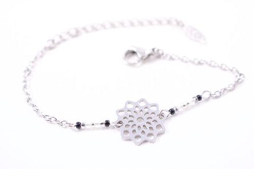 Bracelet acier fleur mandala noir réglable inoxydable bohème miyuki