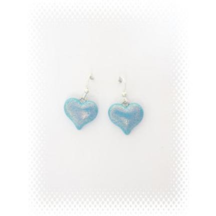 Boucles coeur pailleté bleu en fimo attache en acier inoxydable