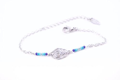 Bracelet acier plume de paon bleu réglable inoxydable bohème miyuki