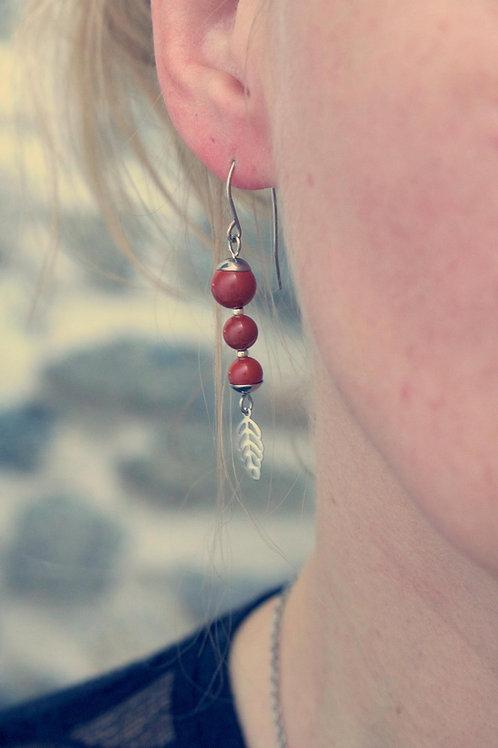 Boucles pendantes Jali Jaspe rouge acier inoxydable fait main pierres naturelles