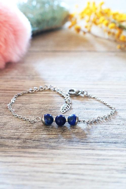 Bracelet Jali Lapis Lazuli acier inoxydable artisanal pierres naturelles