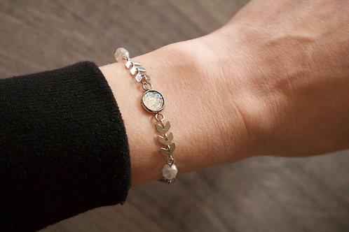 Bracelet Gypsy acier inoxydable blanc réglable fait main