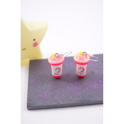 Boucles smoothies licorne rose fluo en fimo attache en acier inoxydable