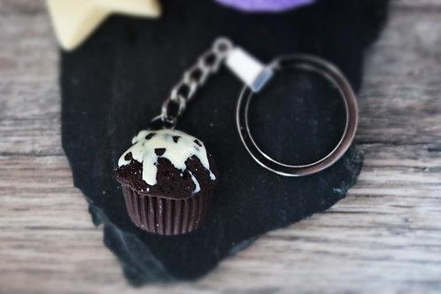 Porte clés Moelleux cupcake au chocolat fimo artisanal