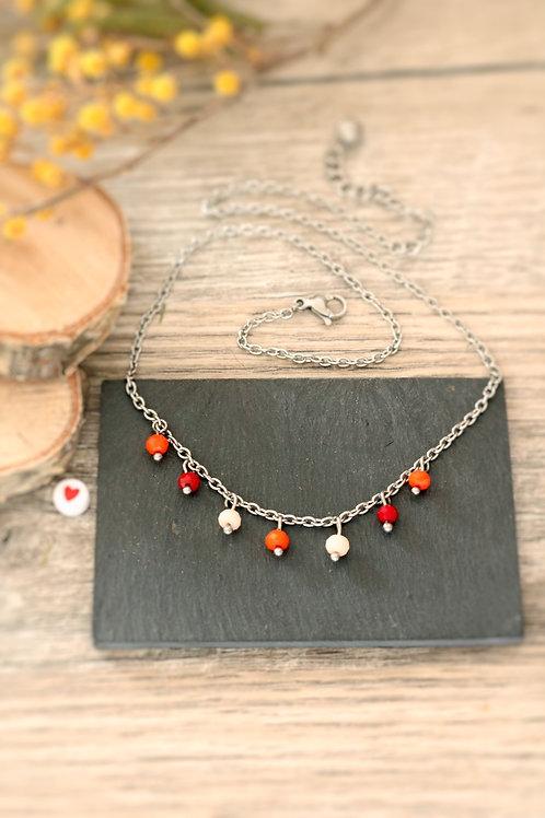 Collier tour de cou Perlita acier inoxydable argenté et perles rouge et orange