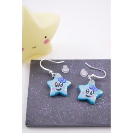 Boucles étoiles pailletées bleues en fimo attache en acier inoxydable