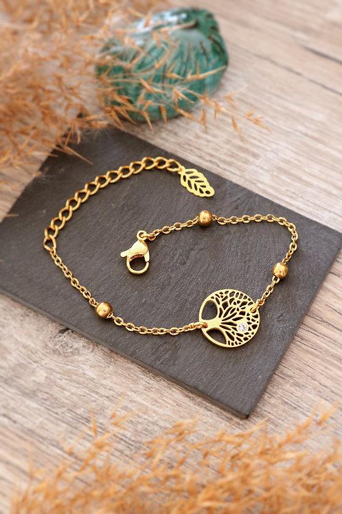 Bracelet arbre médaillon acier inoxydable doré chaine billes réglable