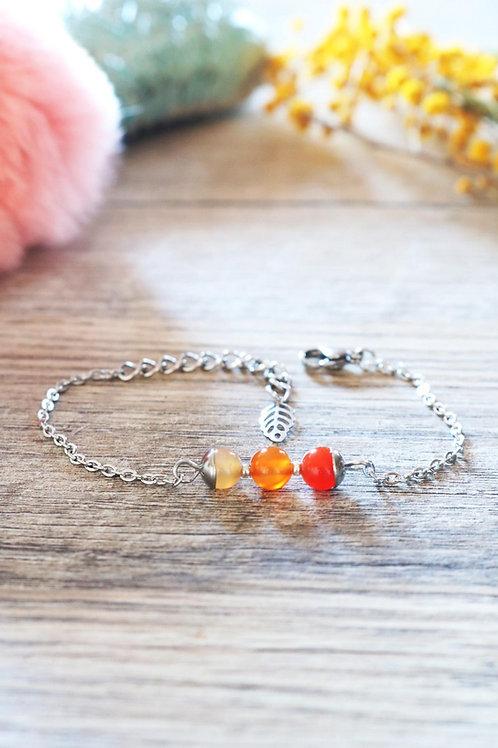 Bracelet Jali Cornaline acier inoxydable artisanal pierres naturelles