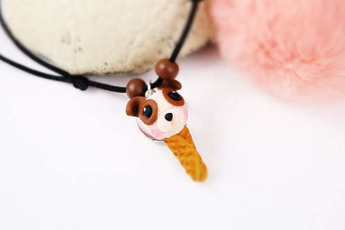 Collier enfant glace chien fimo artisanal gourmand