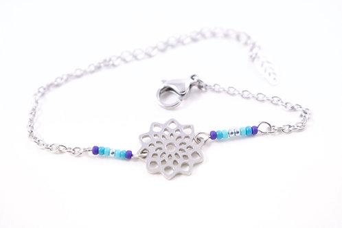 Bracelet acier fleur mandala bleu réglable inoxydable bohème miyuki