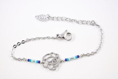 Bracelet acier fleur bleu réglable inoxydable bohème miyuki