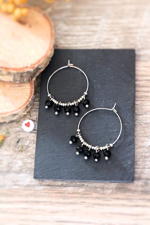 Créoles  boucles Perlita acier inoxydable argenté et perles noires