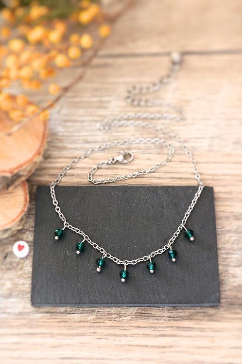 Collier tour de cou Perlita acier inoxydable argenté et perles vert émeraude