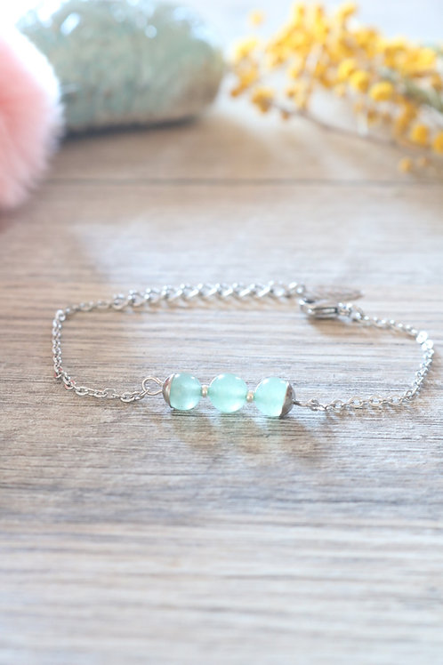 Bracelet Jali Aventurine acier inoxydable artisanal pierres naturelle